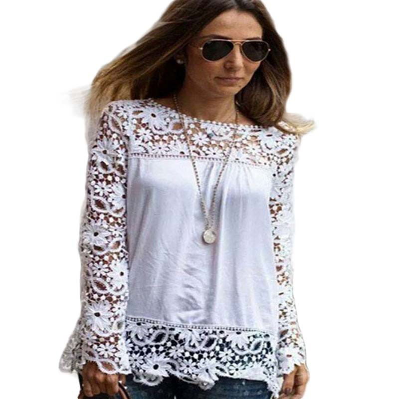2015 summer new arrive fashion Women Blouses O neck full sleeve patchwork lace plus size 5XL loose pure color chiffon shirt 4291