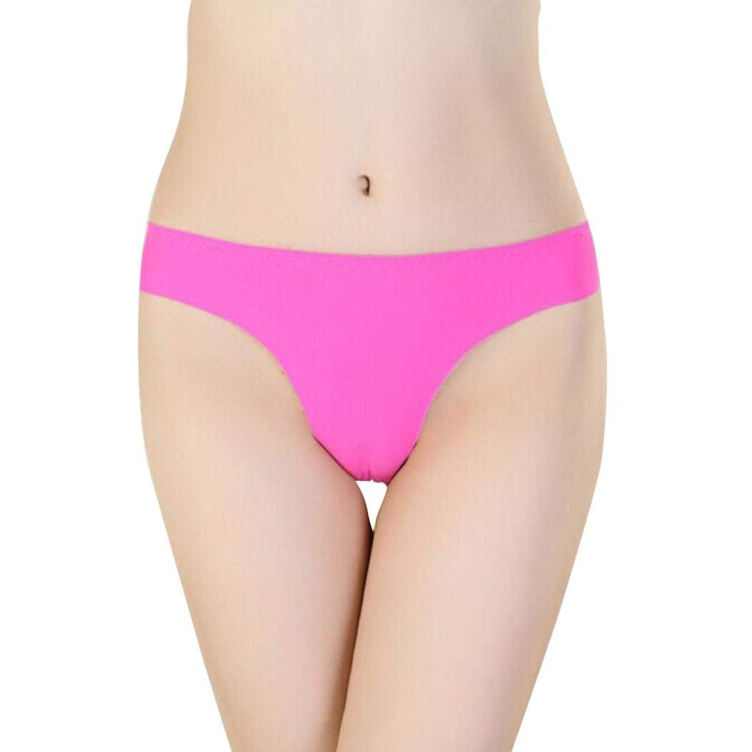 05ae3bc9e4cb Get Quotations · Hot Sexy Women Invisible Underwear Thong Cotton Spandex  Gas Seamless Crotch (Hot Pink)