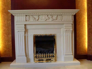 Natural Freestanding Gas Fireplace Mantel China Marble