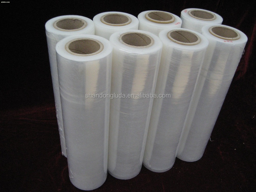 Luda supplier price black and transparent mechanical LLDPE plastic stretch wrapping film roll