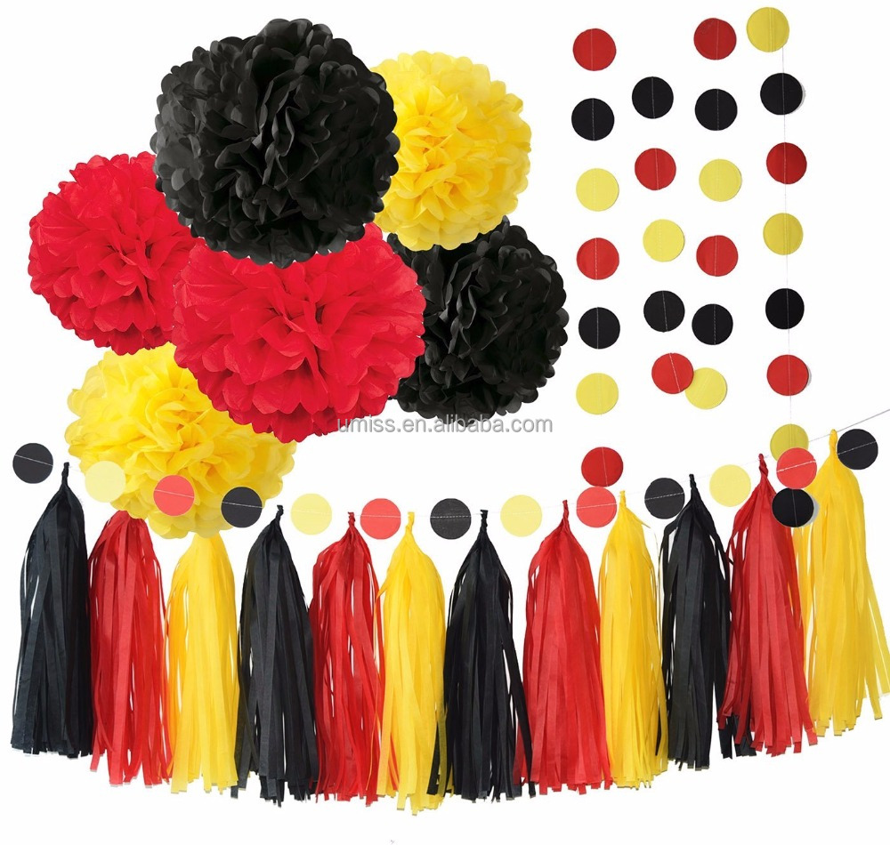Color Party Supplies Yellow Black Red Birthday Decorations/ Tissue Paper Pom Pom Tassel Garland Baby shower