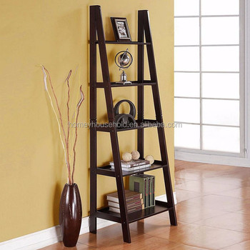 5 Tier Ladder Bookshelf Display Unit Folding Wooden Book Stand Leaning
