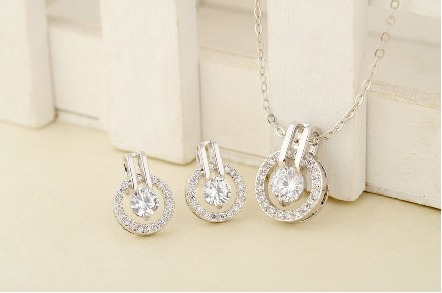 New Arrival 2017 Big Sale Wedding Jewelry Sets 18K Rose Gold Plated Necklace/Earring Bijouterie Sets for Women