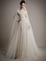 long sleeve deep V collar lace elegant informal a line wedding dresses