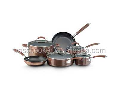 10-Piece Attractive aluminum cookware pan set with glass lid as seen on TV ads, for home and kitchen