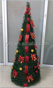 3ft 90cm pop-up deep green christmas tree decorated by red bowknot, gole ball and red ball