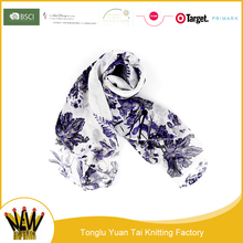 Cheap custom 100 polyester digital print silk scarf for gift
