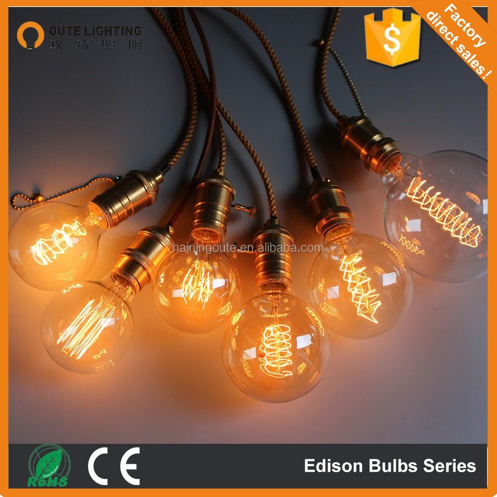 Antique Vantage Edison Bulb Carbon Filament Light Bulb G95/brass ...