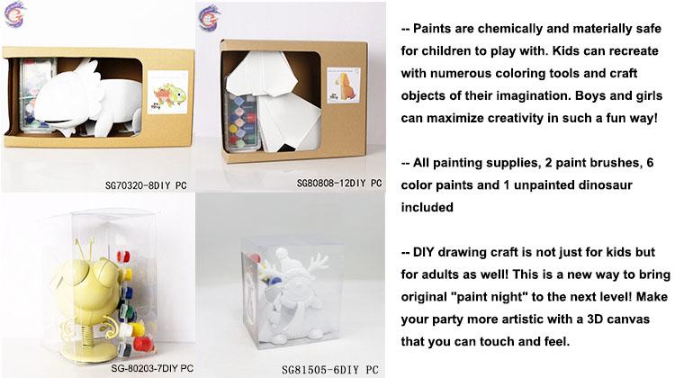 Wholesale gift cartoon type dinosaur diy kids metal toys with painting brush