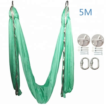yoga bodybuilding private label deluxe stretch ceiling hammock sling elastic aerial 5M silk yoga aerial swing flying