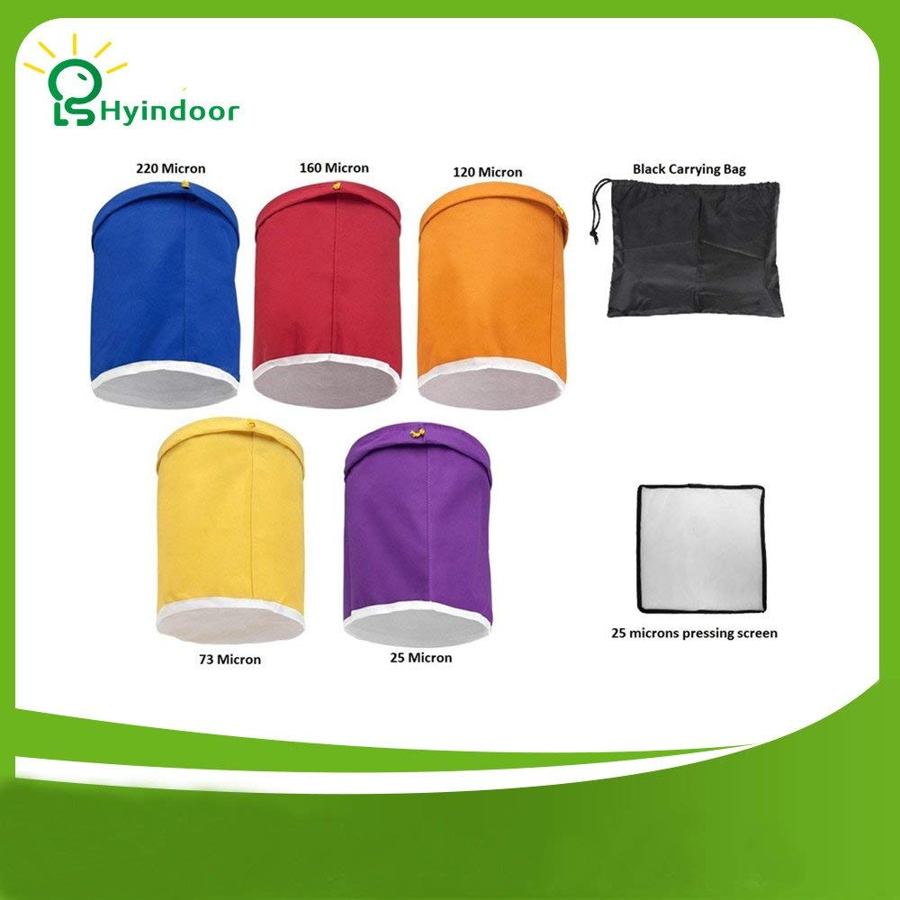 HYINDOOR 1 Gallon 5 bag Herbal Ice Bubble Hash Bag Essence Extractor Kit extraction bag