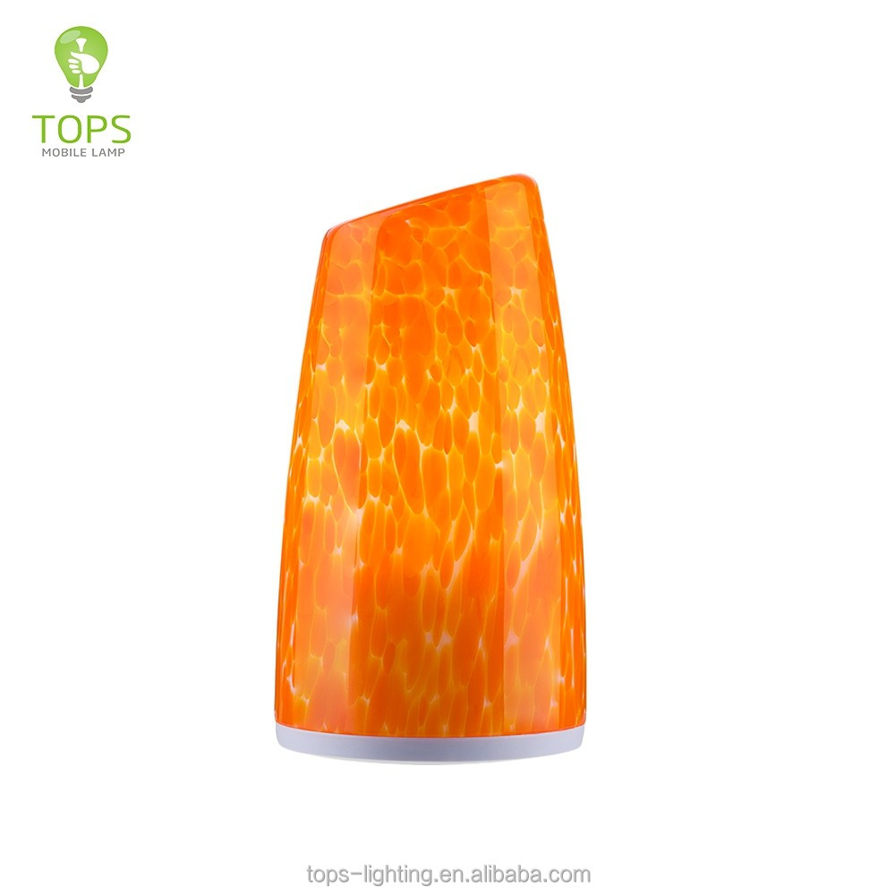 2016 cordless lamp orange tower shape crackle adjustable table lamps