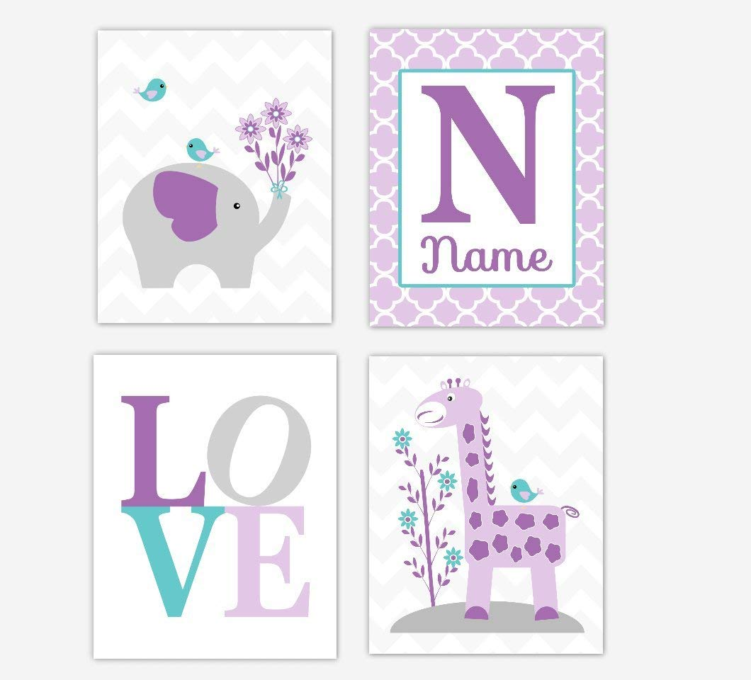 Baby Girl Nursery Wall Art Elephant Giraffe Purple Lavender Teal Aqua Personalized Name Art Baby Nursery Decor Girl Room Print SET OF 4 UNFRAMED PRINTS