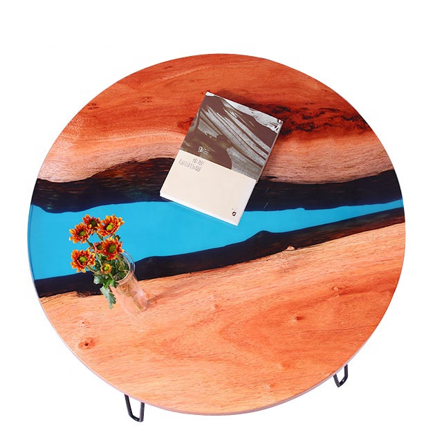 Epoxy Art Walnut Wood Table Top With Blue River Line Round Resin