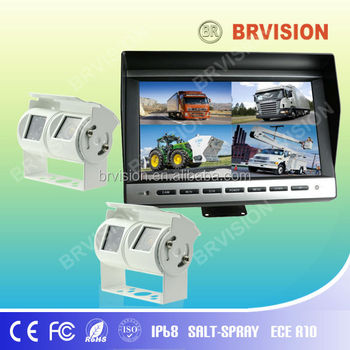 View wide 9 inch Quad Split Screen monitor with Built-in control box