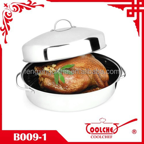 3pcs Stainless Steel Covered Oval Turkey Roaster Chicken Roasting pan 46.5cm Extra large with rack