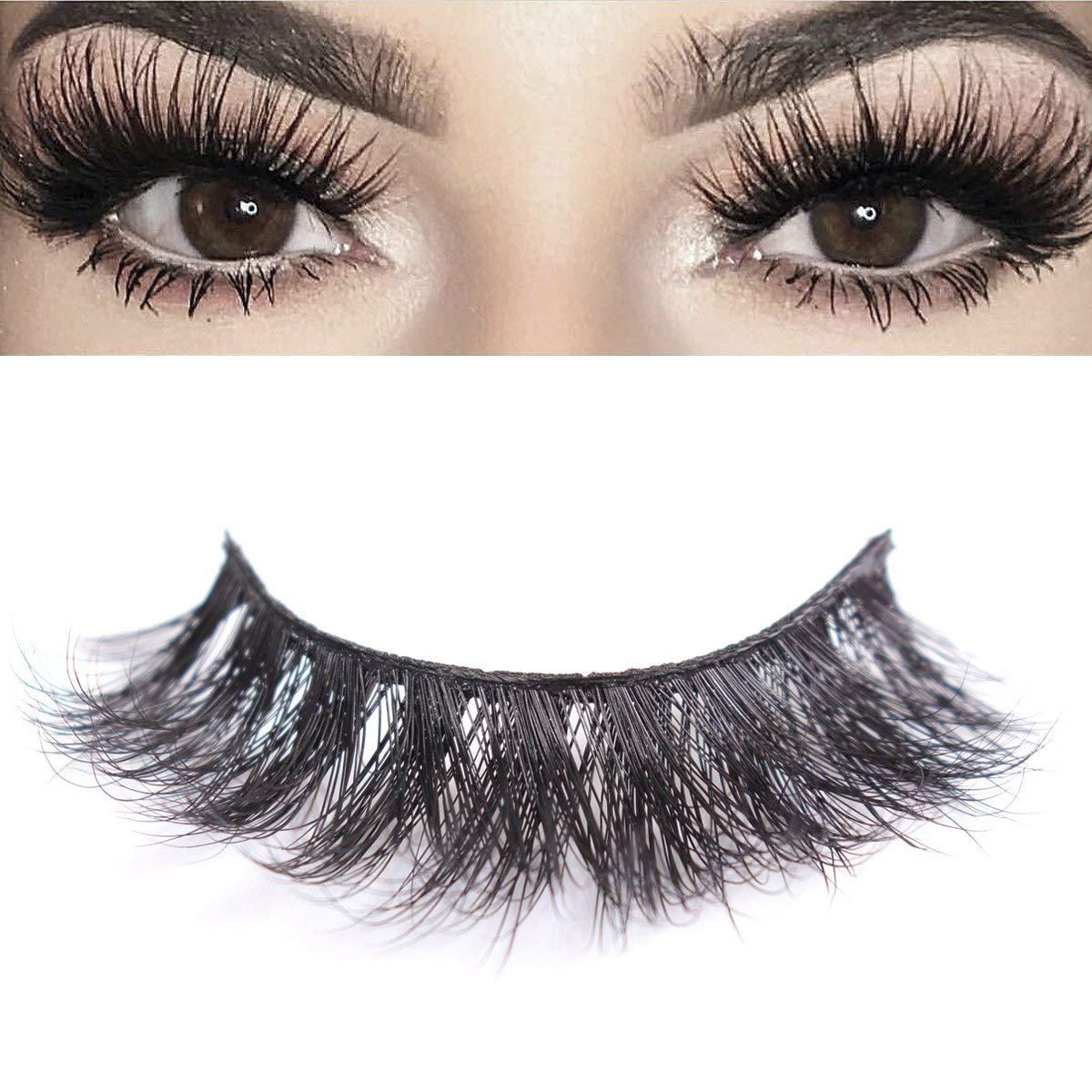 4690e47a203 Get Quotations · 3D Mink Eyelashes Makeup Dramatic False Eyelashes Natural  Look Fluffy Long Reusable Falsies Eyelashes 1 Pair