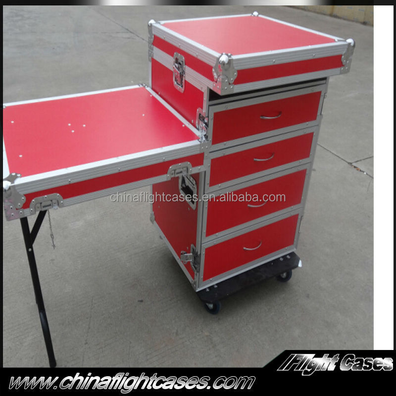 Aluminum Flight Case Carrying 4 Drawers and One Table on Side