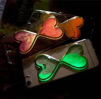 Dual Hearts luminous quicksand phone case for iphone 6 hourglass tpu case