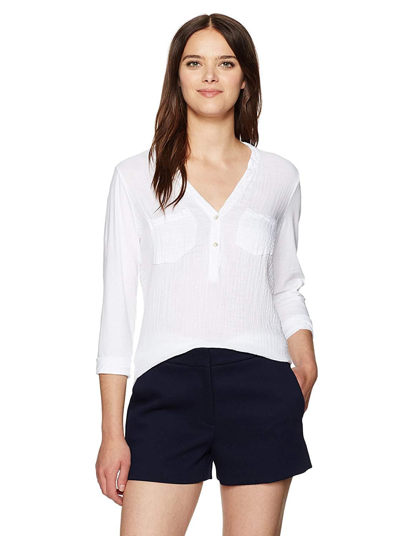 706a716047 Get Quotations · Michael Stars Women's Double Gauze Split Neck 3/4 Sleeve  Tunic