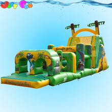 cheap kids outdoor playground jungle digital animals inflatables obstacle course for kids