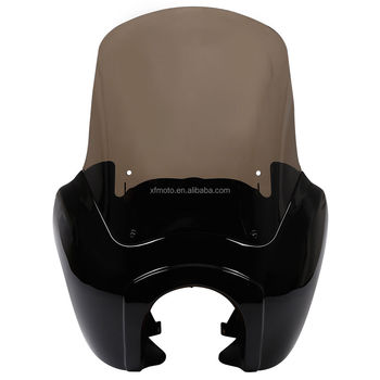 Tcmt Xf2906e13-gbk Black Front Fairing Clear/smoke Windshield For Harley  Dyna Fat Street Bob 2006-2017 - Buy Fairing Windshield For Harley,Dyna Fat