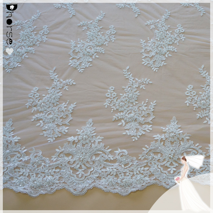 Wholesale guipure embroidery beaded sequined bridal lace fabric DH-BF761