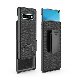2019 new arrival shell holster combo case for samsung galaxy s10 with kickstand