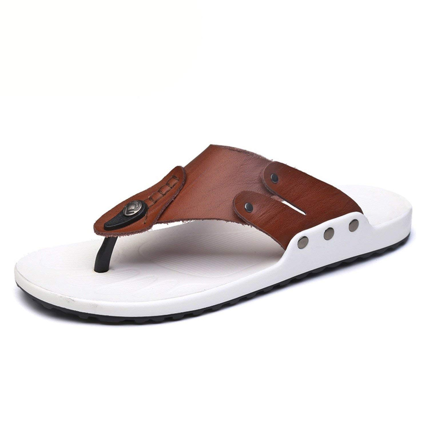 2186b3a2ff84a Get Quotations · Genuine Leather Men Slippers Flip Flops Sneakers for Men  Casual Male Beach Slippers Flip Flops Mens