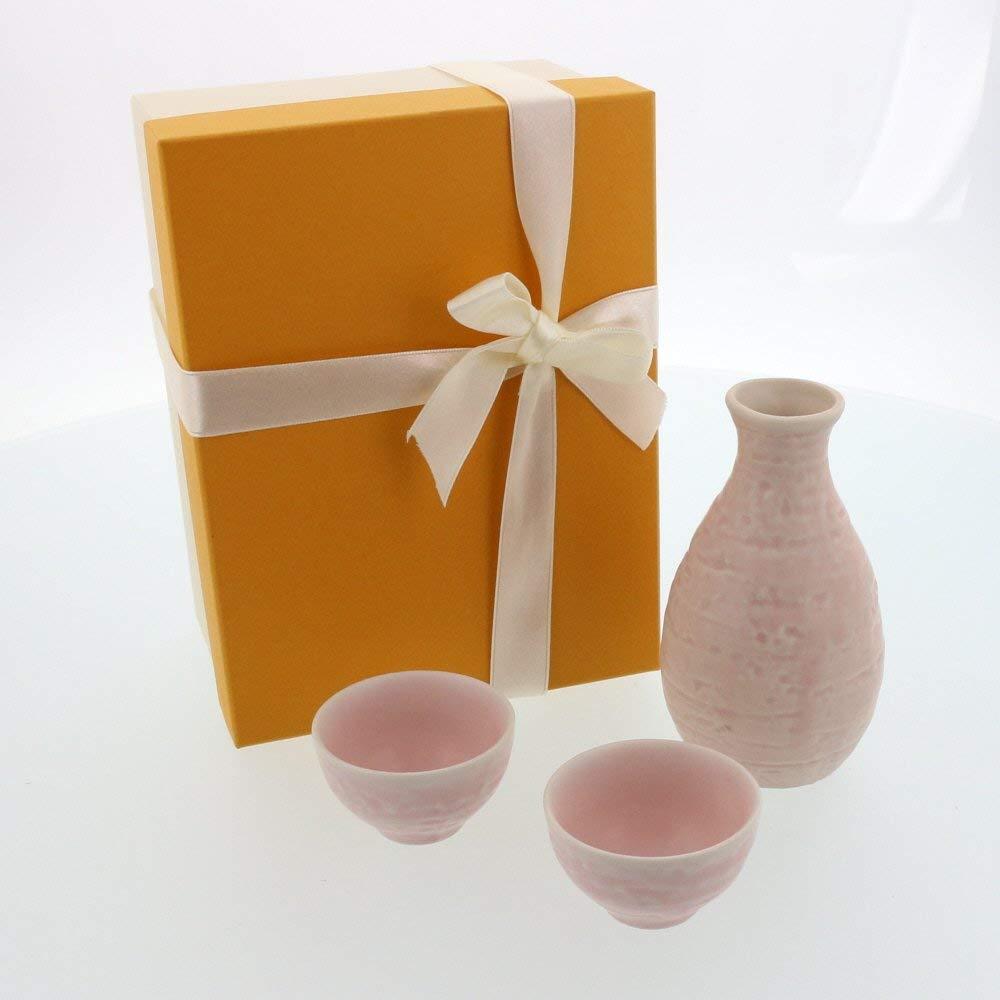 Tableware East - Japanese Sake-Ware Set One 6.7 oz (200 cc) Sake Vessel (Tokkuri) & Two 1.5 oz (45 cc) Sake Cups Gift Box Great for Father's Day, Anniversary, Birthday Gift (Sakura (Light Pink))