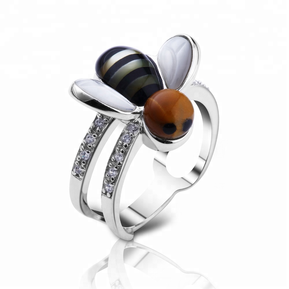 Cubic zircon bee shape enamel sterling silver jewelry <strong>rings</strong>