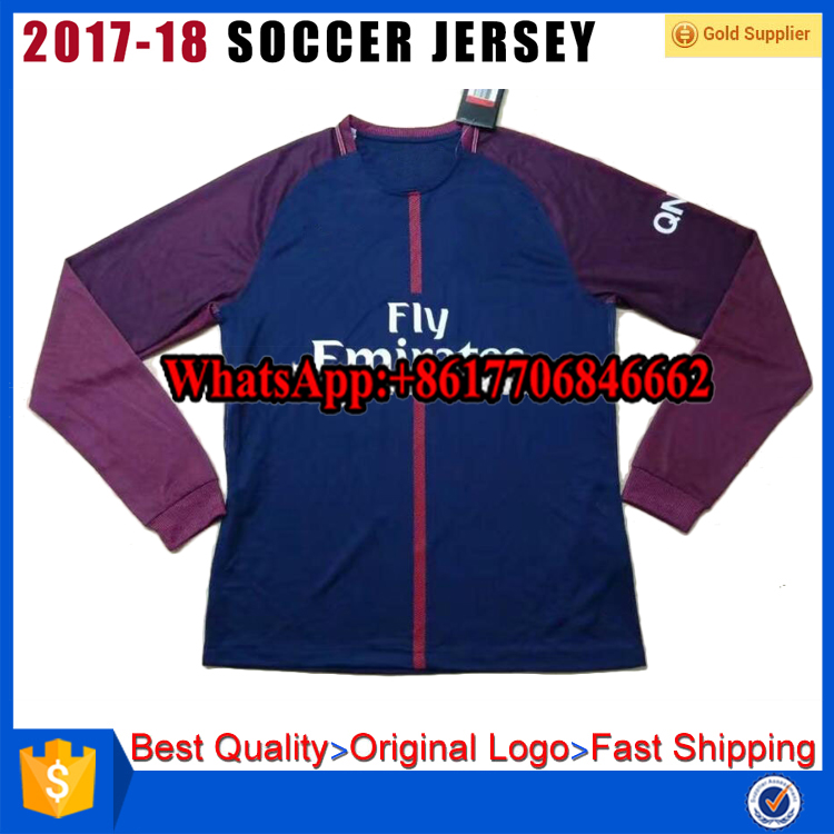 17-18 PSG long sleeve soccer jerseys neymar jr 10 paris football shirt di maria 11 cavani Men home blue thai quality in stock