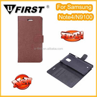 2014 Newest wallet stand design PU leather flip credit card mobile phone cover case for Samsung Note4/N9100