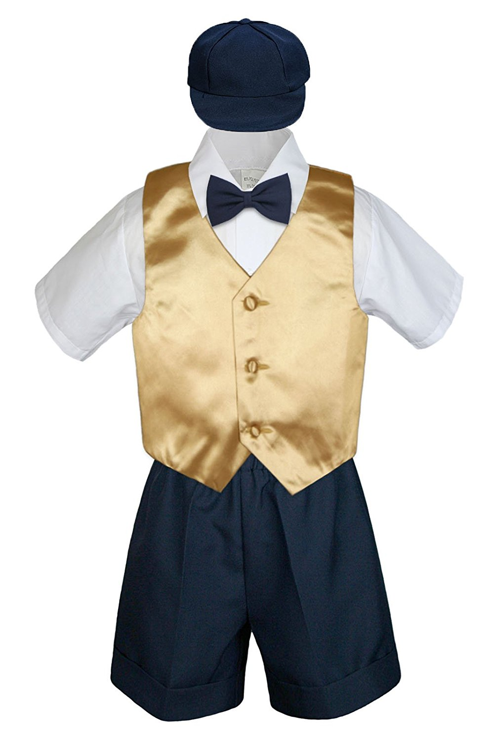 XL: Leadertux 3pc Formal Baby Toddler Boys Black Bow Tie Brown Pants Set Outfits S-7 18-24 months