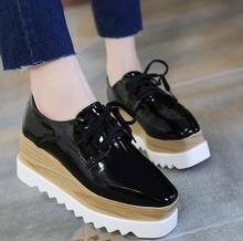 up-0355r Retro women flat shoes PU leather platform shoes lady wholesale