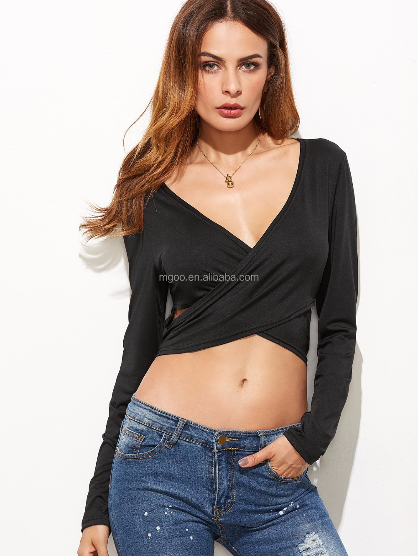 fd8927b0c1fb3 Cotton Sexy Lady V Neck Crop Top With Long Sleeve Crop T-shirt Women Plain  Black Criss-Cross Tie Back Crop