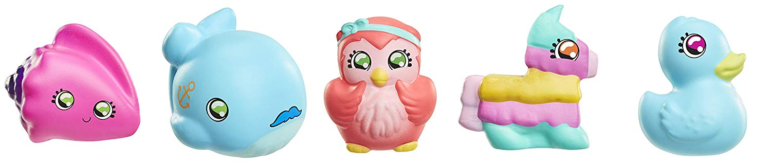 Squish-Dee-Lish 5-Pack Slow-Rise Squishies, Series 3-Pink Sea Shell Whale, Owl, Piñata, Blue Duck Bendable-Toy-Figures