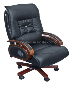 Leather Captains Chair General Manager Chair Reclining Office Chair