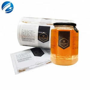Custom Transparent Adhesive Vinyl Label Hot Stamping Honey Jar Usage Food Adhesive Label Sticker