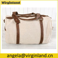 High Quality Natural Linen Women Travel Duffel Weekend Bag Luggage For Teen With Long Shoulder Strap