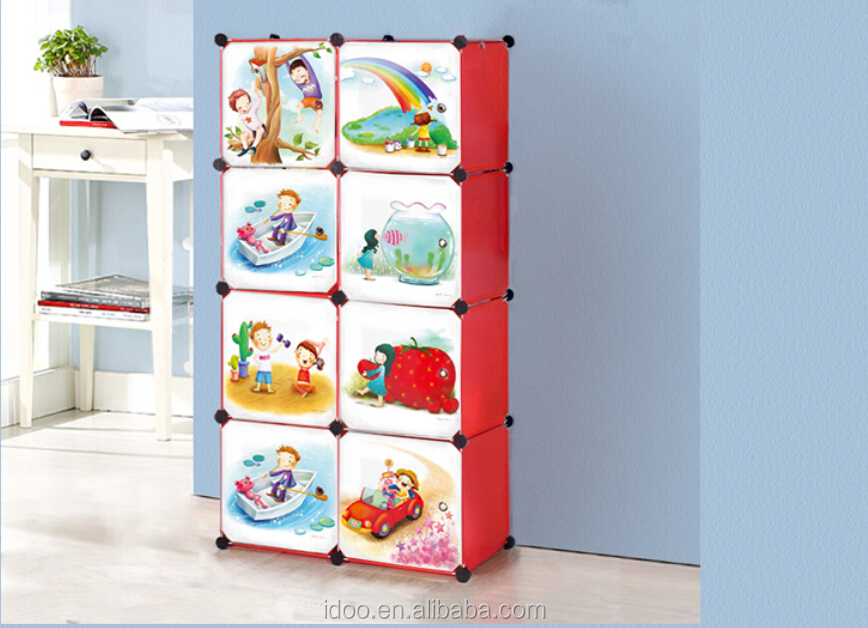Cabinet Design For Clothes For Kids 2015 new cartoon bookcase design easy storage baby wardrobe