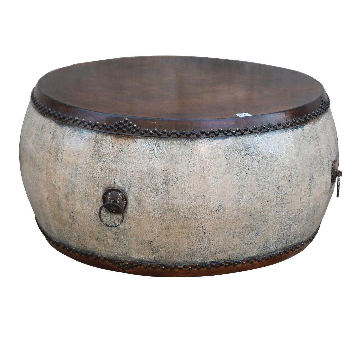 Chinese antique Living room wooden Drum Round Coffee table sofa movable side table