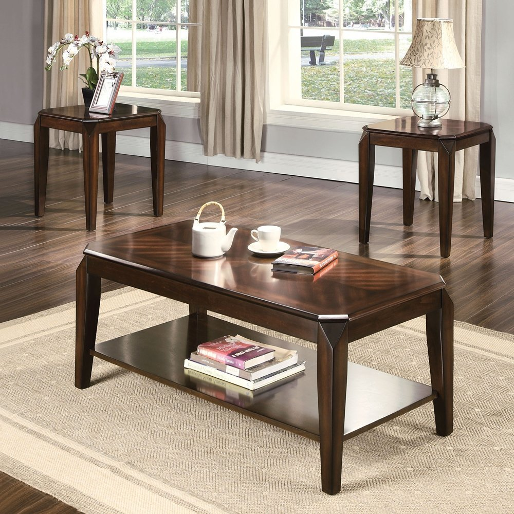 ACME Furniture 80655 Docila 3Piece Coffee End Table Set, Walnut