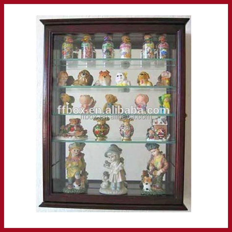 Small Wall Mountable Curio Cabinet Shadow Box, with Glass Door, Mirrored Back