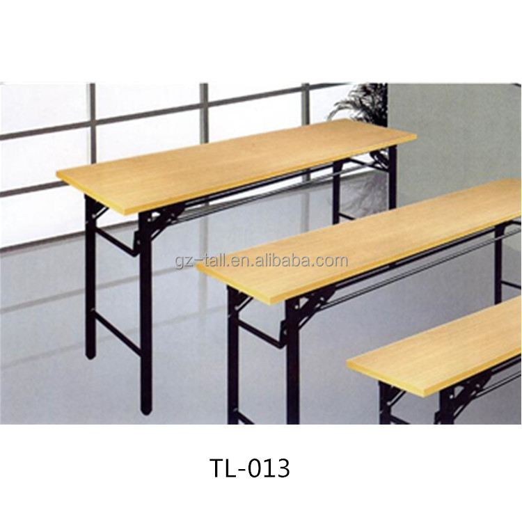 Long Student desk for 2 people MDF canteen desk