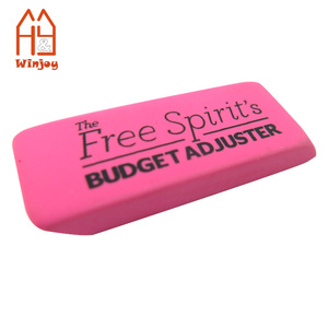 Wholesale and custom promotional rubber eraser style,bevel pencil eraser in pink ,1C logo printing cheap easers in bulk