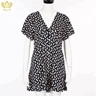 New Design Wholesale NJS2906 Cheap Fancy Floral Print V-Neck Women Other Dresses