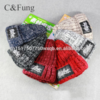 Factory Wholesale Winter plus velvet thick knitted hat patch Fingertip hats