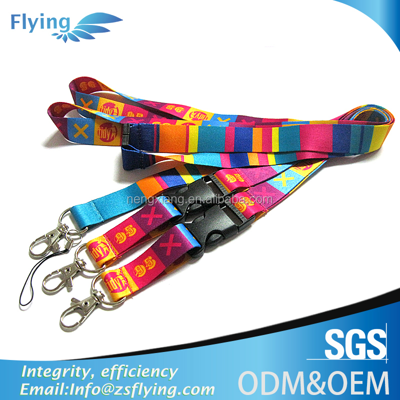 Hot sale custom logo dye sublimated light up neck lanyard for key