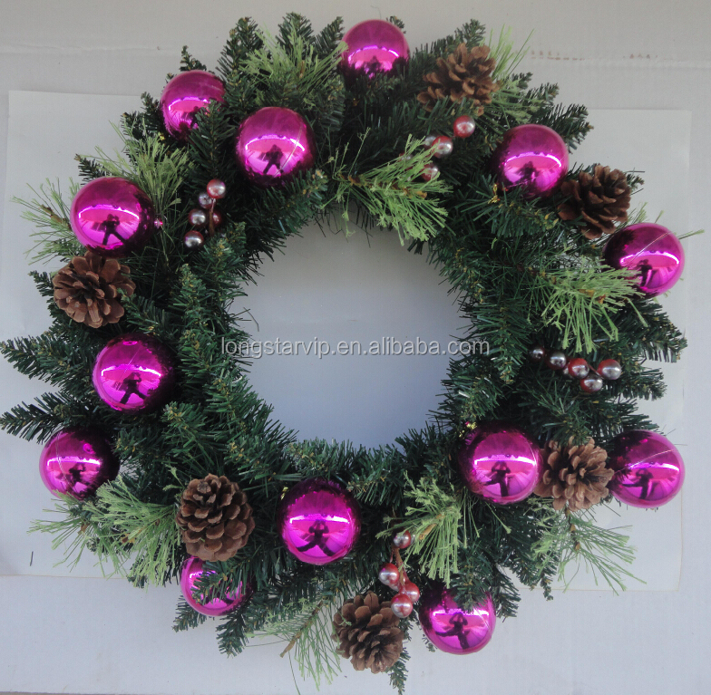 wholesale artificial bulk green christmas wreath decoration color and size can be customize xmas wreath with